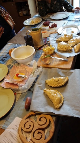 The finished pasties on the work table